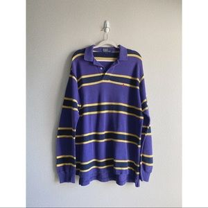 polo vintage rugby purple yellow stripped shirt